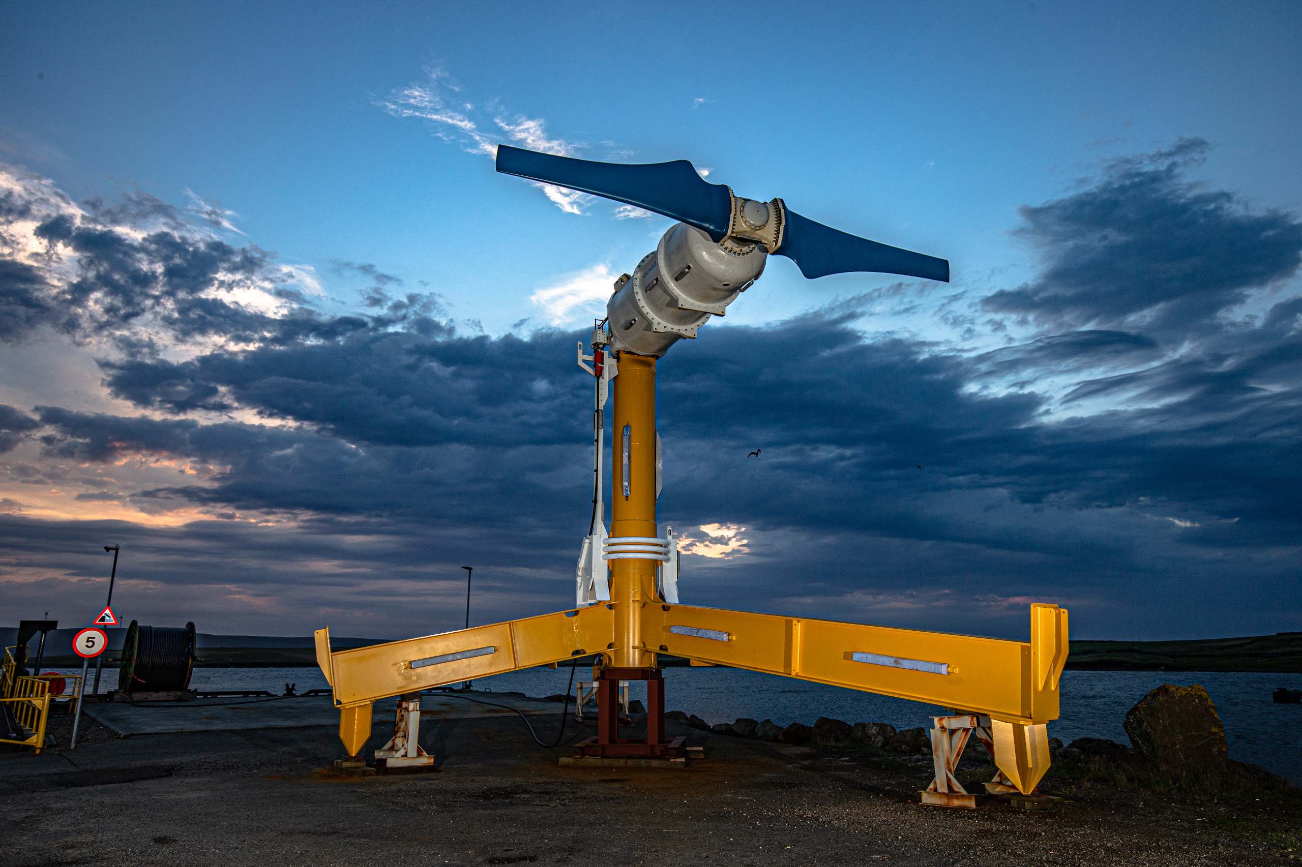 Nova Innovation's fourth turbine, waiting to be installed in Bluemull Sound, August 2020