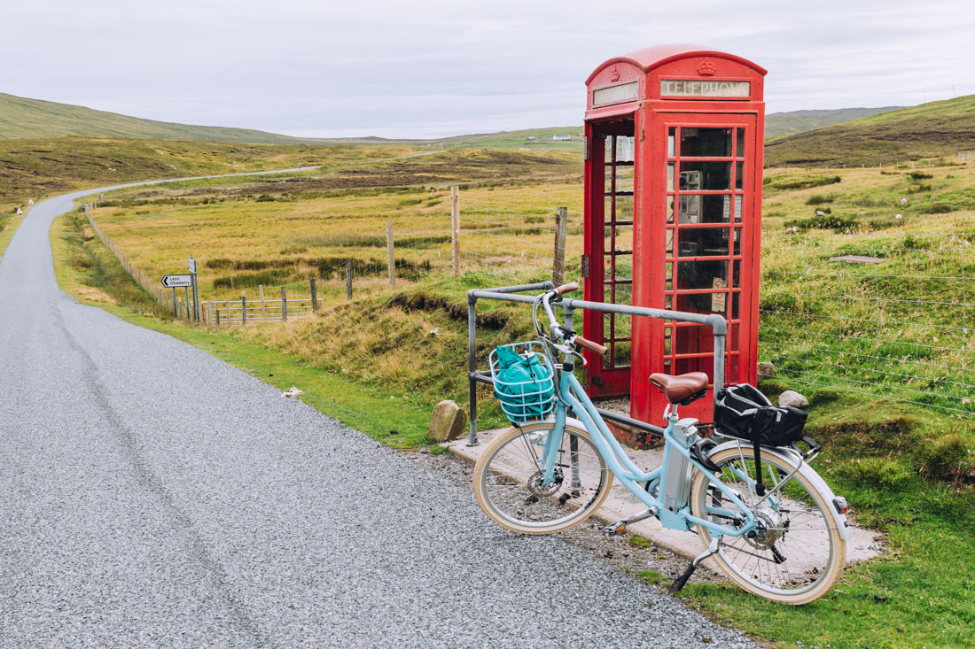 Making the most of her electric bike in Hillswick | Kay Gillespie