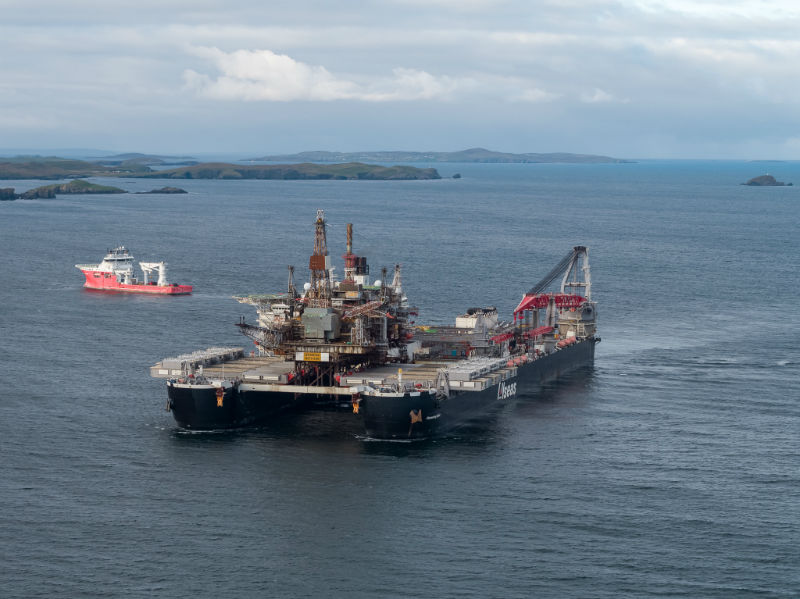 The 'Pioneering Spirit' approaches Lerwick (Courtesy Lerwick Port Authority/Rory Gillies/Shetland Flyer Aerial Media)