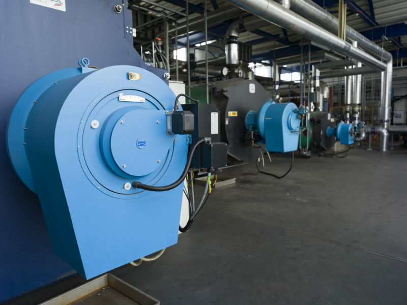 The back-up boilers in the Peak Load Boiler Station (Courtesy SHEAP)