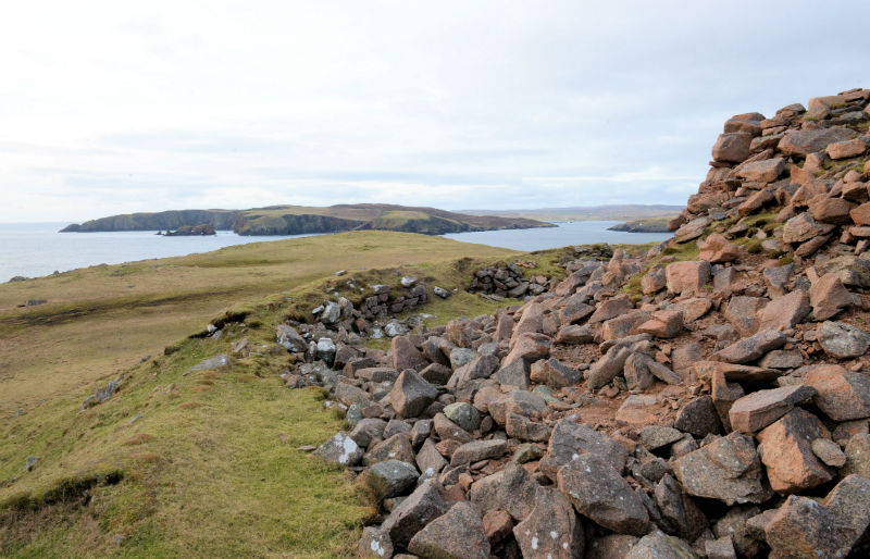 Looking towards the island of Vaila from Culswick Broch (Courtesy Alastair Hamilton)