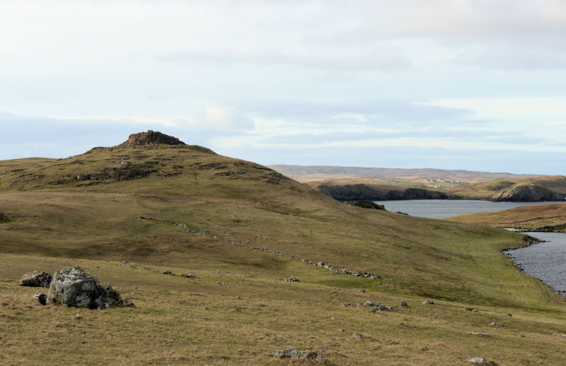 The Broch of Culswick stands on an easily defended site (Courtesy Alastair Hamilton)
