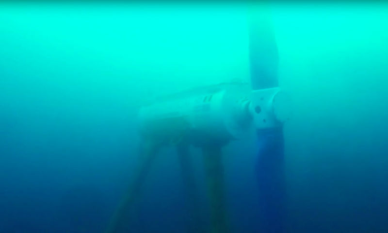 The turbine installed in Bluemull Sound (Courtesy Nova Innovation)